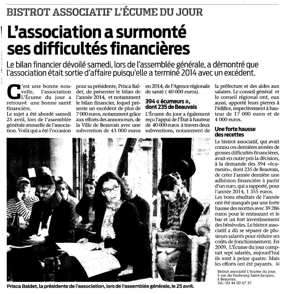 finance de lecume 30 avril 2015